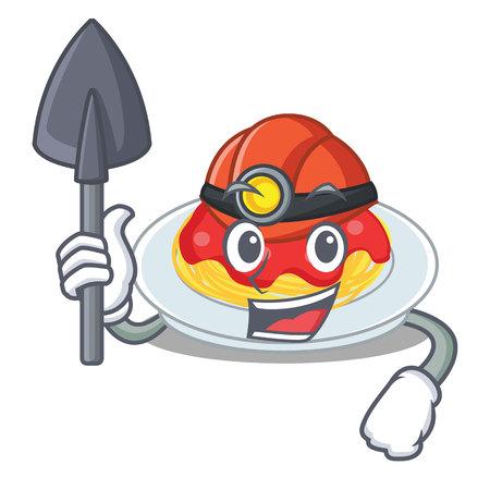 Miner spaghetti character cartoon style illustration.