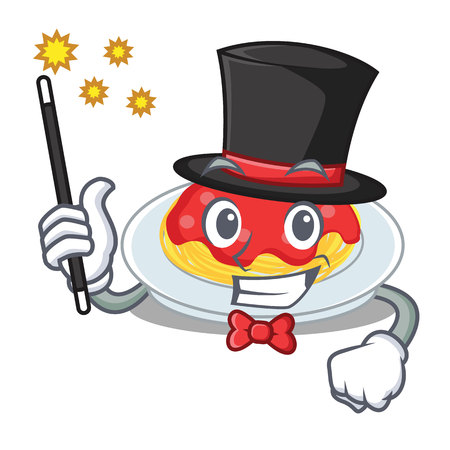 Magician spaghetti character cartoon style illustration. Illustration