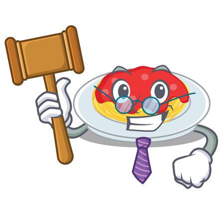 Judge spaghetti character cartoon style illustration. Illustration