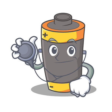 Doctor battery character cartoon style vector illustration.