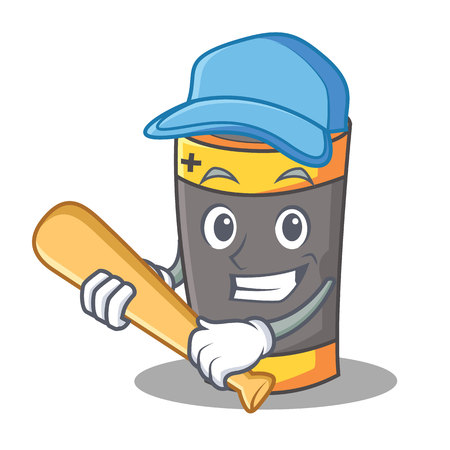 Playing baseball battery character cartoon style vector illustration