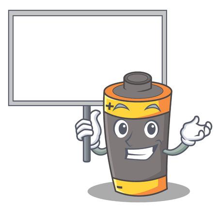 Bring board battery character cartoon style vector illustration