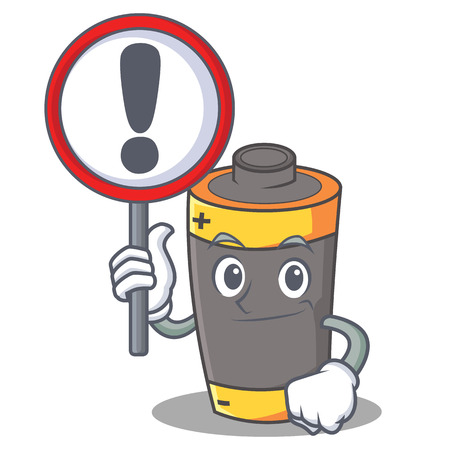 With sign battery character cartoon style vector illustration Vectores