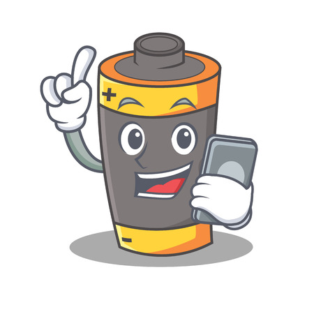 With phone battery character cartoon style