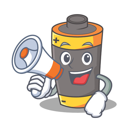 With megaphone battery character cartoon style vector illustration Illustration
