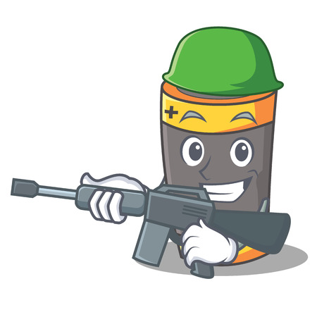 Army battery character cartoon style Illustration