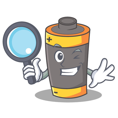 Detective battery character cartoon style Illustration