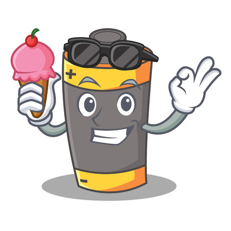 With ice cream battery character cartoon style vector illustration Illustration
