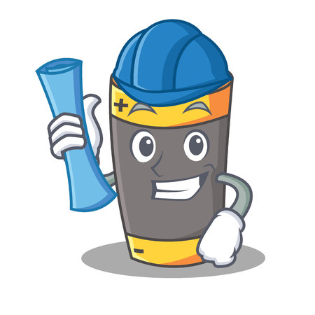 Architect battery character cartoon style vector illustration