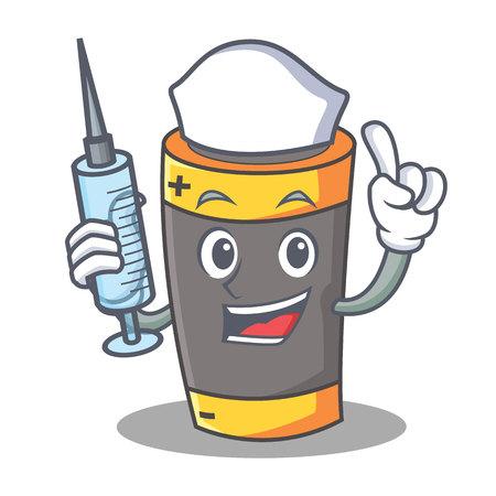 Nurse battery character cartoon style