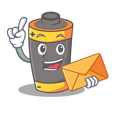 With envelope battery character cartoon style vector illustration