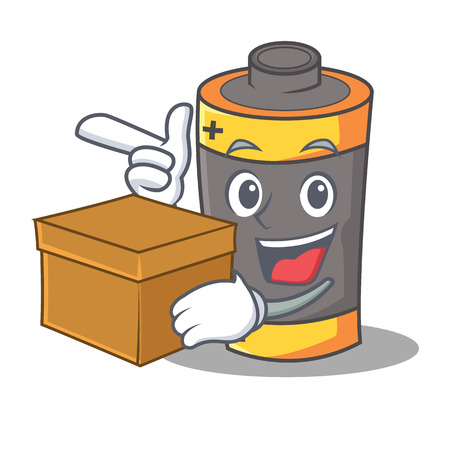 With box battery character cartoon style Illustration