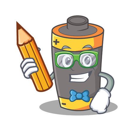 Student battery character cartoon style Illustration