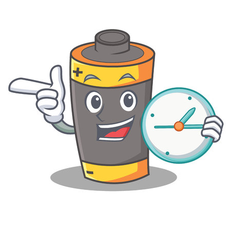 With clock battery character cartoon style vector illustration Vectores