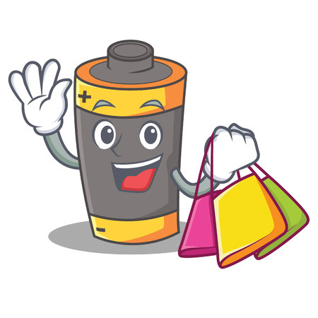 Shopping battery character cartoon style