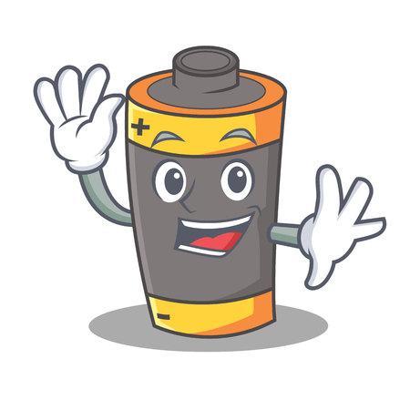 Waving battery character cartoon style vector illustration