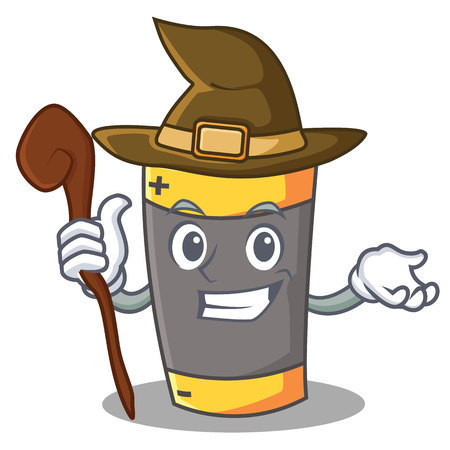 Witch battery mascot cartoon style vector illustration Illustration