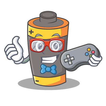 Gamer battery mascot cartoon style vector illustration