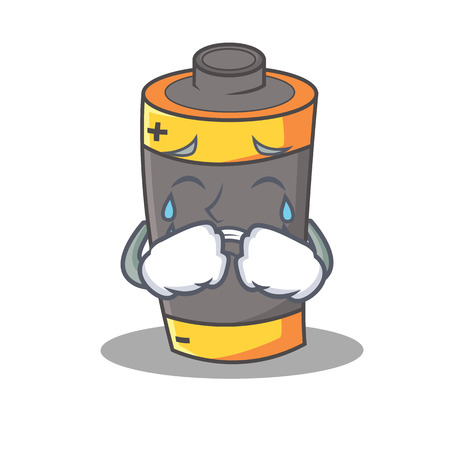 Crying battery mascot cartoon style vector illustration Illustration
