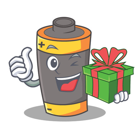 With gift battery mascot cartoon style vector illustration Illustration