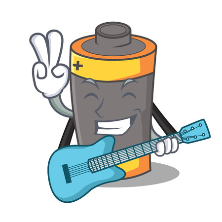 With guitar battery mascot cartoon style vector illustration