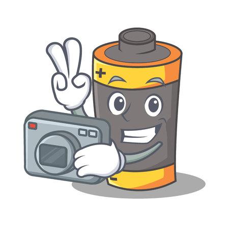 Photographer battery mascot cartoon style vector illustration