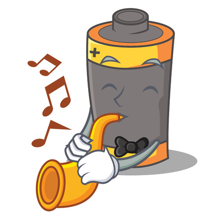 With trumpet battery mascot cartoon style vector illustration