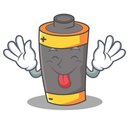 Tongue out battery mascot cartoon style vector illustration