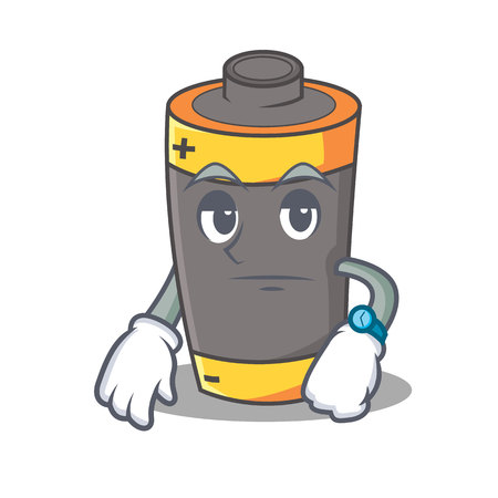Waiting battery mascot cartoon style vector illustration