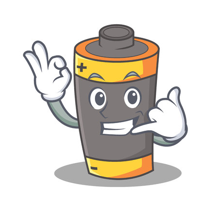 Call me battery mascot cartoon style vector illustration