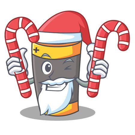 Santa with candy battery mascot cartoon style vector illustration