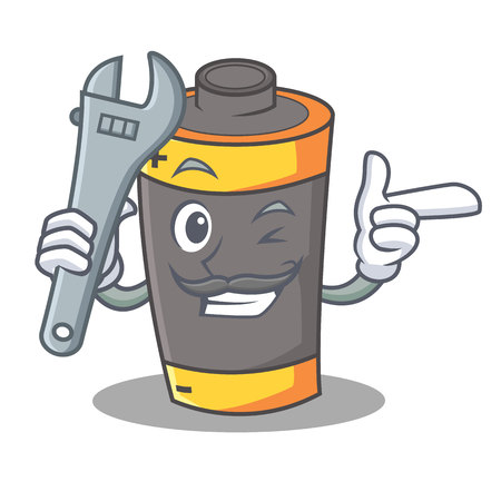 Mechanic battery mascot cartoon style vector illustration