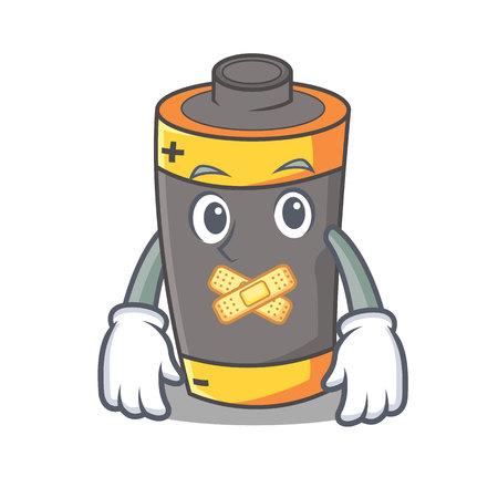 Silent battery mascot cartoon style vector illustration Illustration