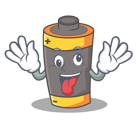 Crazy battery mascot cartoon style vector illustration Illustration