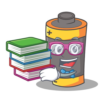 Student with book battery mascot cartoon style vector illustration Illustration