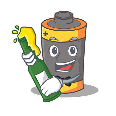With beer battery mascot cartoon style vector illustration