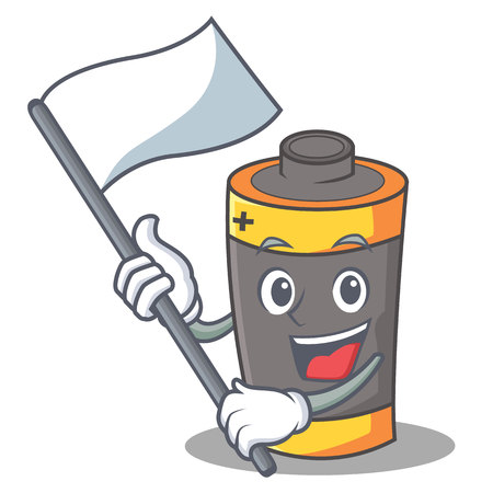 With flag battery mascot cartoon style vector illustration
