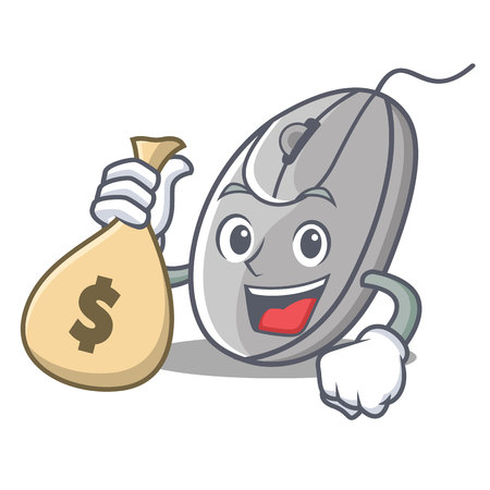 With money bag mouse character cartoon style vector illustration.