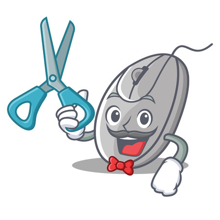 Barber mouse character cartoon style vector illustration