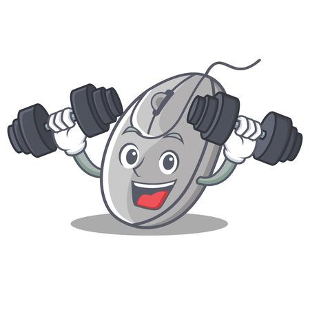 Fitness mouse character cartoon style vector illustration Illustration