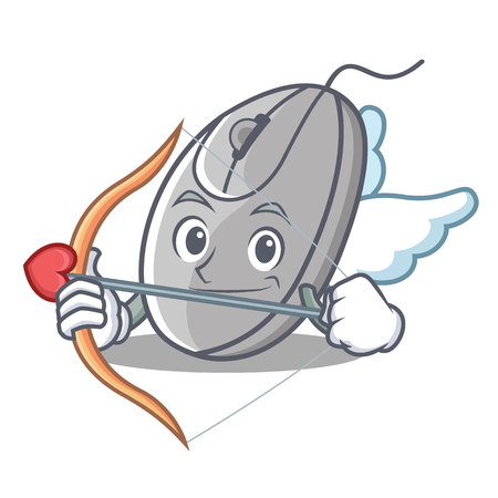Cupid mouse character cartoon style vector illustration