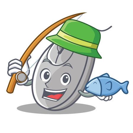 Fishing mouse mascot cartoon style vector illustration