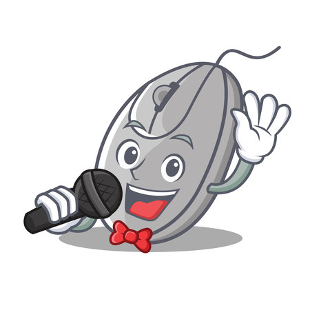 Singing mouse mascot cartoon style vector illustration