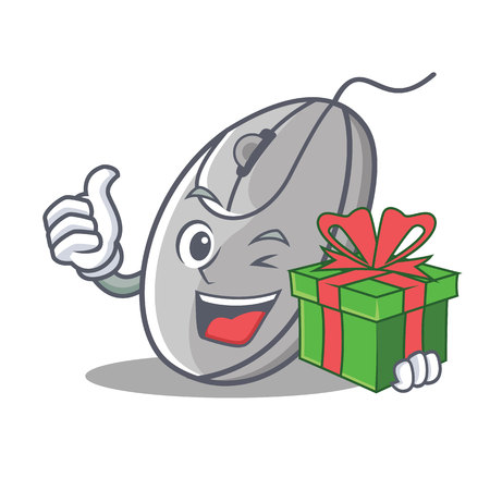 With gift mouse mascot cartoon style vector illustration
