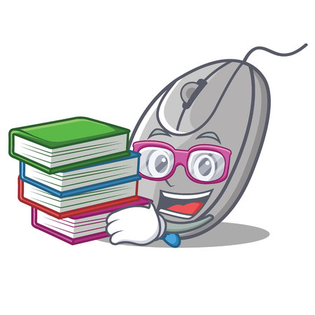 Student with book mouse mascot cartoon style vector illustration