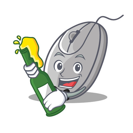 With beer mouse mascot cartoon style vector illustration Illustration