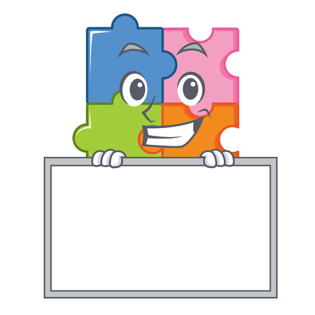 Grinning board puzzle character cartoon style vector illustration