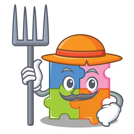Farmer puzzle character cartoon style vector illustration