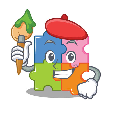 Artist puzzle character cartoon style vector illustration