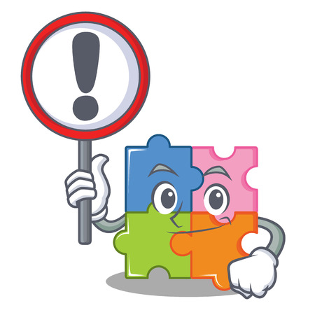 With sign puzzle character cartoon style vector illustration